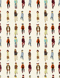 Seamless young boy pattern. Drawing Stock Images