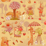 Seamless young doodle animals having fun Royalty Free Stock Photo