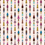 Seamless young girl pattern Royalty Free Stock Images