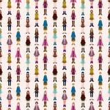 Seamless young girl pattern. Cartoon vector illustration vector illustration