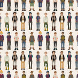 Seamless young man pattern Stock Photography