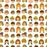 Seamless young people face pattern Royalty Free Stock Photo