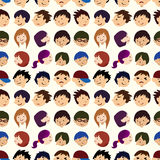 Seamless young people face pattern Stock Photography