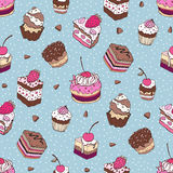 Seamless Yummy pattern. Yummy colorful Hand drawn pattern. Seamless vector illustration Royalty Free Stock Photo