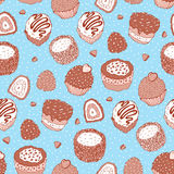 Seamless Yummy pattern. Yummy colorful Hand drawn pattern. Seamless vector illustration Stock Image