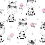 Seamless zebra baby pattern vector illustration Royalty Free Stock Image