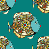 Seamless Zentangle fish background. Vector illustration image. Vector seamless pattern with Hand drawn fish with floral elements in doodle style Royalty Free Stock Photos