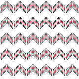 Seamless zig zag chevron pattern with black and red dash line Stock Photos
