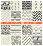 Seamless Zig Zag Pattern Set. Chevron Grapic Print Design Stock Image