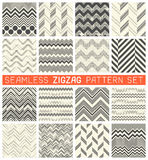 Seamless Zig Zag Pattern Set. Chevron Grapic Print Design. Abstract Zigzag Background. Wrapping Texture Collection. Vector Herringbone Ornament Stock Image