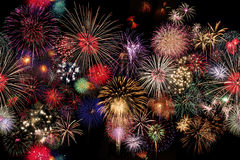 Seamlessly Fireworks Celebration at night Stock Image
