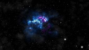Seamlessly loopable animation of flying through glowing nebulae and stars.  stock illustration