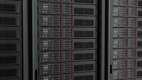 Seamlessly looping of servers in data center. 3D animation.