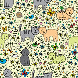 Seamlessly pattern with cats Stock Image