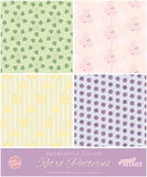 Seamlessly Tiling Retro Patterns Set. Set of four seamlessly tiling Retro patterns with stylized leaves, flowers and fruit in pastel colors Stock Photography