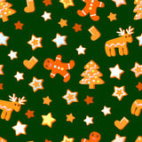 Seamlesspattern com a cookie bonito do Natal Imagem de Stock Royalty Free