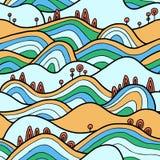 Seamlesspattern met heuvels, gebieden en bomen stock illustratie