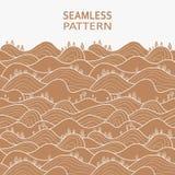 Seamlesspattern z wzg?rzami, polami i drzewami, ilustracja wektor
