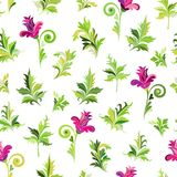 SeamlessSeamless floral pattern. Simple pink flowers whith green leaves on white backgound. Vector floral pattern. Seamless floral pattern. Simple pink flowers Stock Image