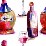 Seamlss wallpaper with Bottles Royalty Free Stock Photos