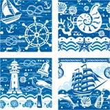 Seampless med nautiska och havssymboler Arkivbild