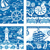 Seampless with Nautical and sea symbols Stock Photography
