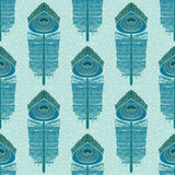 Seampless pattern with peacock feathers Stock Photos