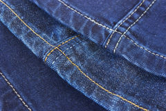 Seams on blue denim trousers Royalty Free Stock Images