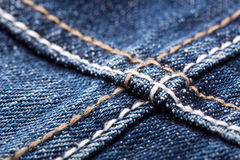 Seams on blue jeans Royalty Free Stock Images