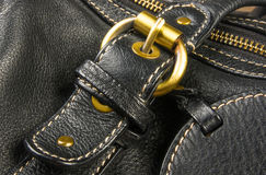 seams on leather hand bag Royalty Free Stock Photos