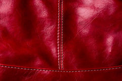 Seams on leather hand bag Royalty Free Stock Images