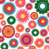 Seamsess flower pattern. Seamless flower pattern with different color petals on white background stock illustration