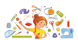 Seamstress διανυσματική έννοια εργαλείων κοριτσιών και ραψίματος Στοκ Εικόνες