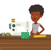 Seamstress που χρησιμοποιεί τη ράβοντας μηχανή στο εργαστήριο διανυσματική απεικόνιση
