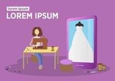 Seamstress ράβει ένα γαμήλιο φόρεμα Σε απευθείας σύνδεση ατελιέ Υπόβαθρο μόδας κλίσης απεικόνιση αποθεμάτων