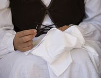 Seamstress. A traditional seamstress close up Royalty Free Stock Image