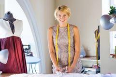 Seamstress in atelier studio Stock Photos