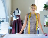 Seamstress in atelier studio Royalty Free Stock Photography