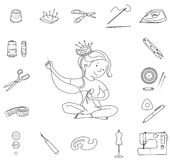 Seamstress girl and sewing tools, line vector Royalty Free Stock Images