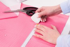 Seamstress in work. Sewing workshop. royalty free stock images