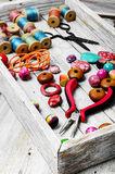 Seamstress and needlework Stock Image