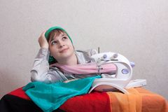A seamstress rests Stock Photo