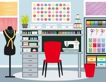 Seamstress`s office. Dressmaker workspace. Sewing illustration I. Blue tones. Seamstress`s office. Dressmaker workspace. Sewing vector illustration I. Blue Stock Image