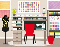 Seamstress`s office. Dressmaker workspace. Sewing illustration II. Green tones. Seamstress`s office. Dressmaker workspace. Sewing vector illustration III Royalty Free Stock Image
