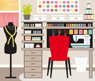 Seamstress`s office. Dressmaker workspace. Sewing illustration IV. Royalty Free Stock Images
