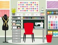 Seamstress`s office. Dressmaker workspace. Sewing illustration II. Green tones.