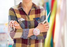 Seamstress with scissors and measuring tape Stock Photography