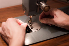 Seamstress Sets Sewing Machine Royalty Free Stock Images