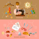 Seamstress and tailor banners tailoring clothes production. Sewing machine  flat style vector illustration Stock Photography