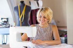 Seamstress at work Royalty Free Stock Photos